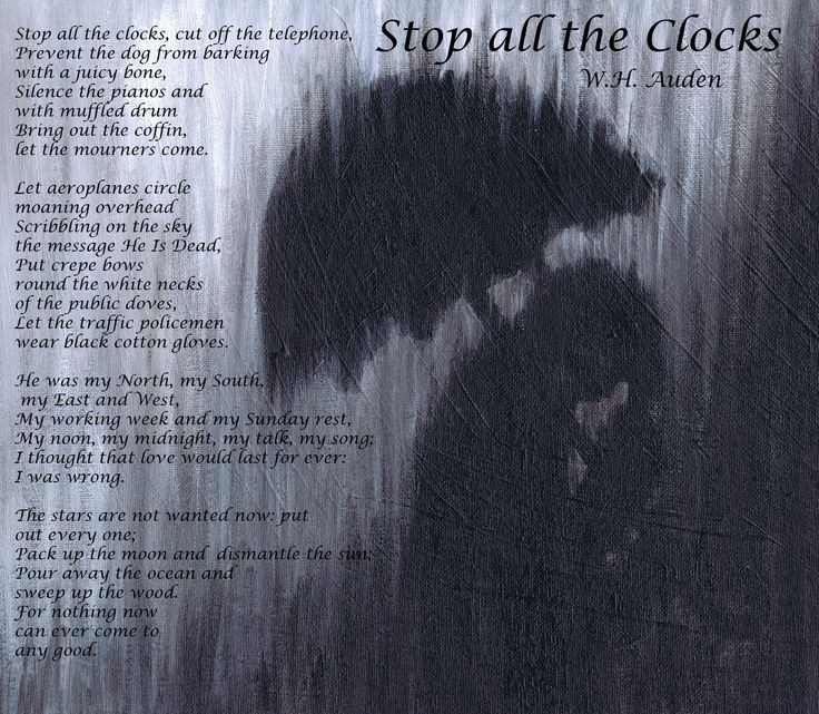 """Stop all the Clocks by WH Auden: Jess Riera Illustration: Popular Poem read at Funerals - also featured in the movie """"Four Weddings and a Funeral"""""""