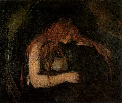 Edvard Munch. Vampire (aka Love and Pain), 1893-4. National Gallery of Norway, Oslo.