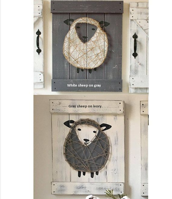 This 3 piece set of baby sheep nursery decor is the perfect modern farmhouse touch for any nursery--above the crib, changing table or anywhere! The set includes a jute string art sheep and two barn doors. Each piece measures 18 high and 14 wide. The sheep is painted on to a wood slat