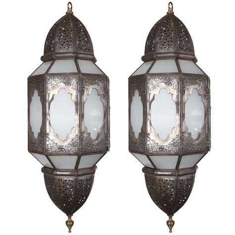 Handcrafted Moroccan Milky Glass Lantern | From a unique collection of antique and modern chandeliers and pendants  at http://www.1stdibs.com/furniture/lighting/chandeliers-pendant-lights/