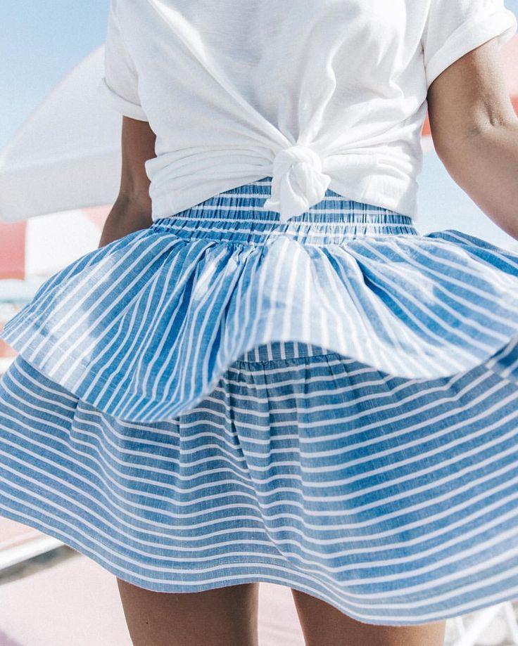 Skirt | Summer | Breeze | Light | Blue | White | More on Fashionchick.nl