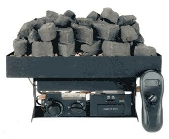 To make this work the fireplace grate needs to be cut.    Otherwise pick one of these to replace inside of fireplace:  http://www.victorianfireplaceshop.com/gas-coals.html.  Victor Gas Coal Burner