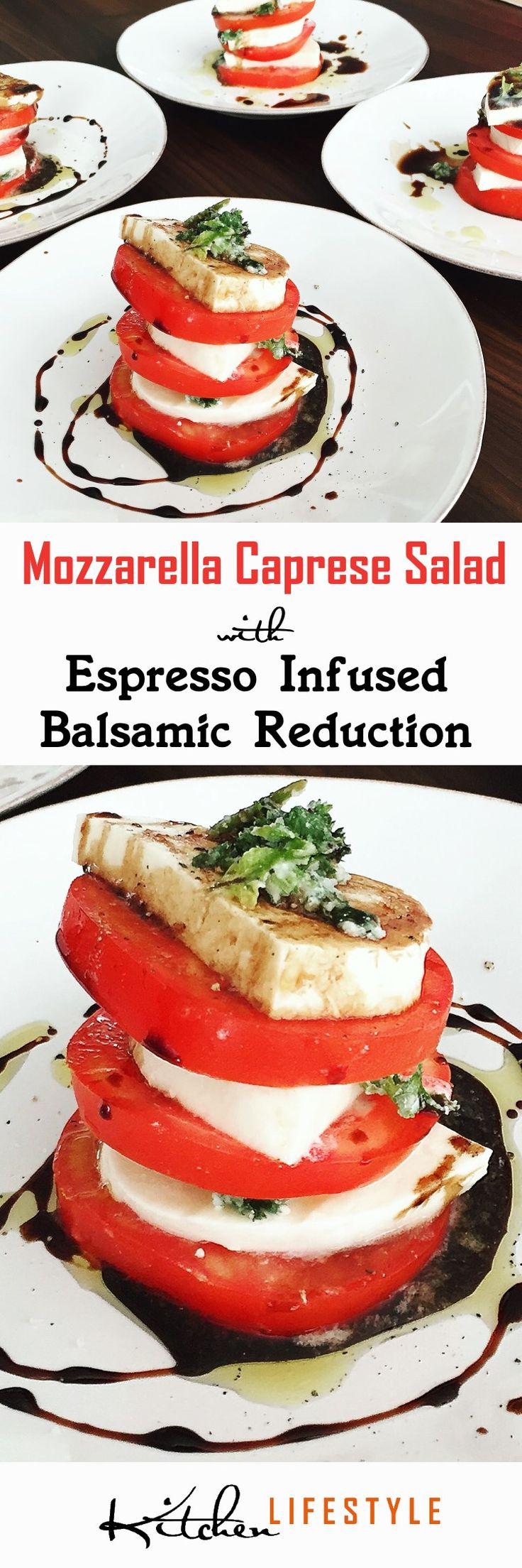 Mozzarella Caprese Salad Recipe with Espresso Infused Balsamic Reduction & Olive Oil Drizzle, Maldon Sea Salt Flakes & Black Pepper. via @KitchnLifestyle
