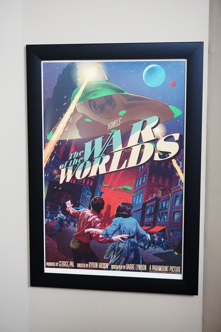 """Mondo commissioned print from comic artists Stan&Vince, The War of the Worlds 24""""x36"""" in our Wide Border Style Frame. #wow #Mondo #Artprints #StanandVince #Frames #PosterFrames"""