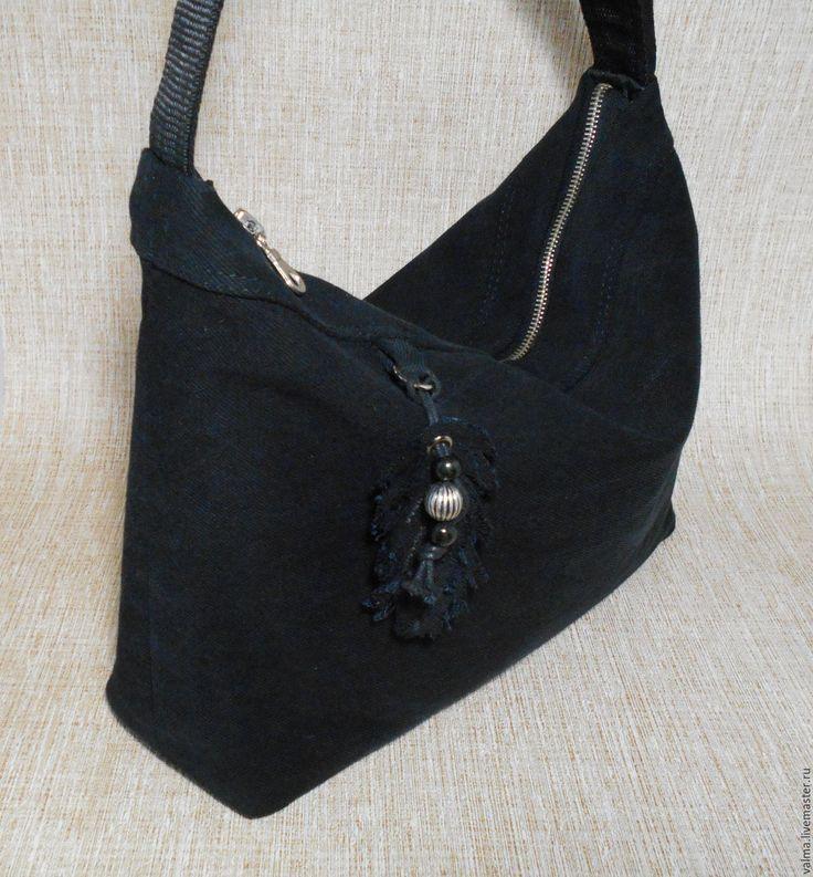 Купить Черная джинсовая сумка - черный, однотонный, деним, джинсовая сумка, женская сумка