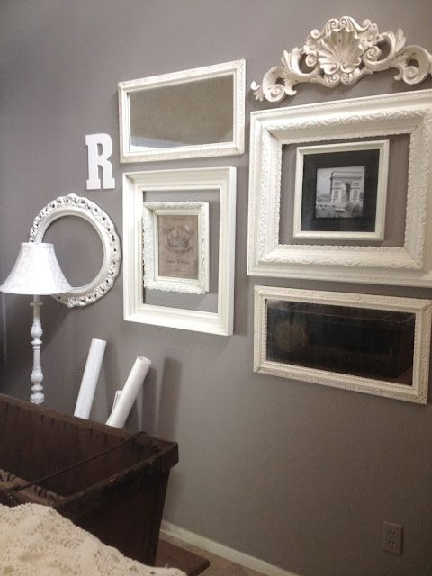 variety of frames, decorations, unifying theme of white