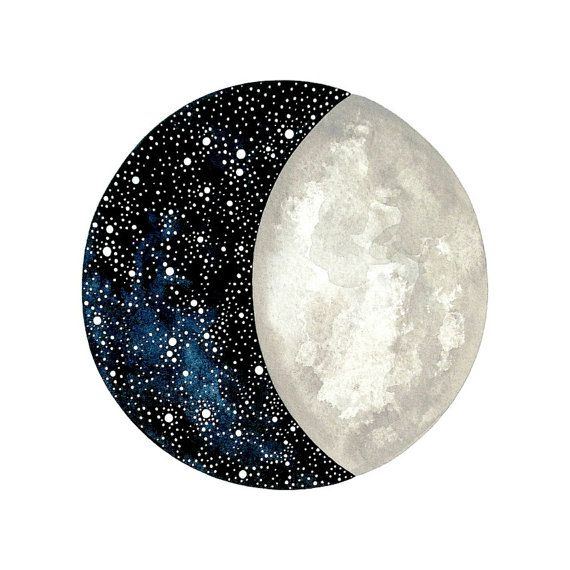 Moon and Stars 5 - Original Contemporary 8x10 Watercolor Painting - Constellation Art, Astronomy - by Natasha Newton
