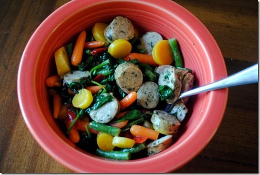 Chicken sausage and mixed veggies | Come Dine with Moi :) | Pinterest