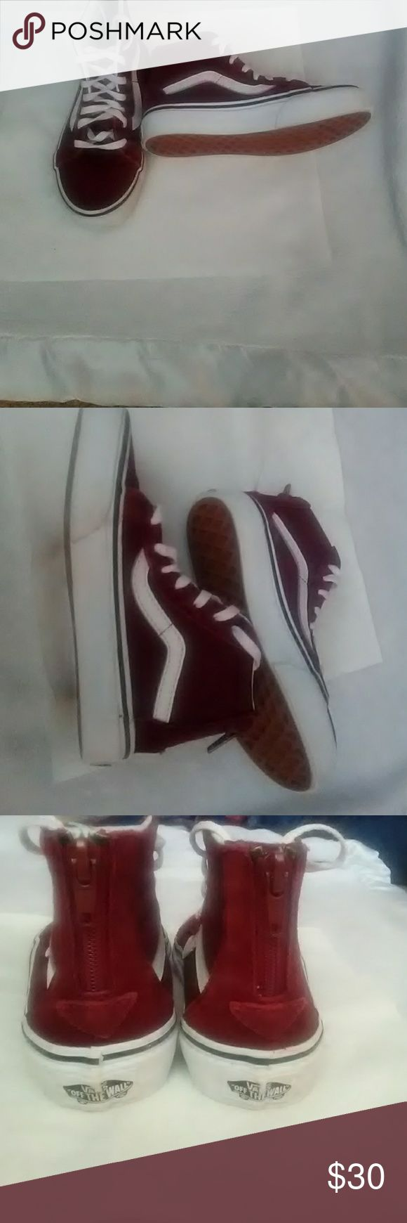 VANS These boys high top Vans look brand new! They have only been worn once. The color is burgundy Vans Shoes