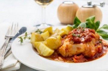 Une #recette légère de #cabillaud au jus de tomate et ses petits légumes