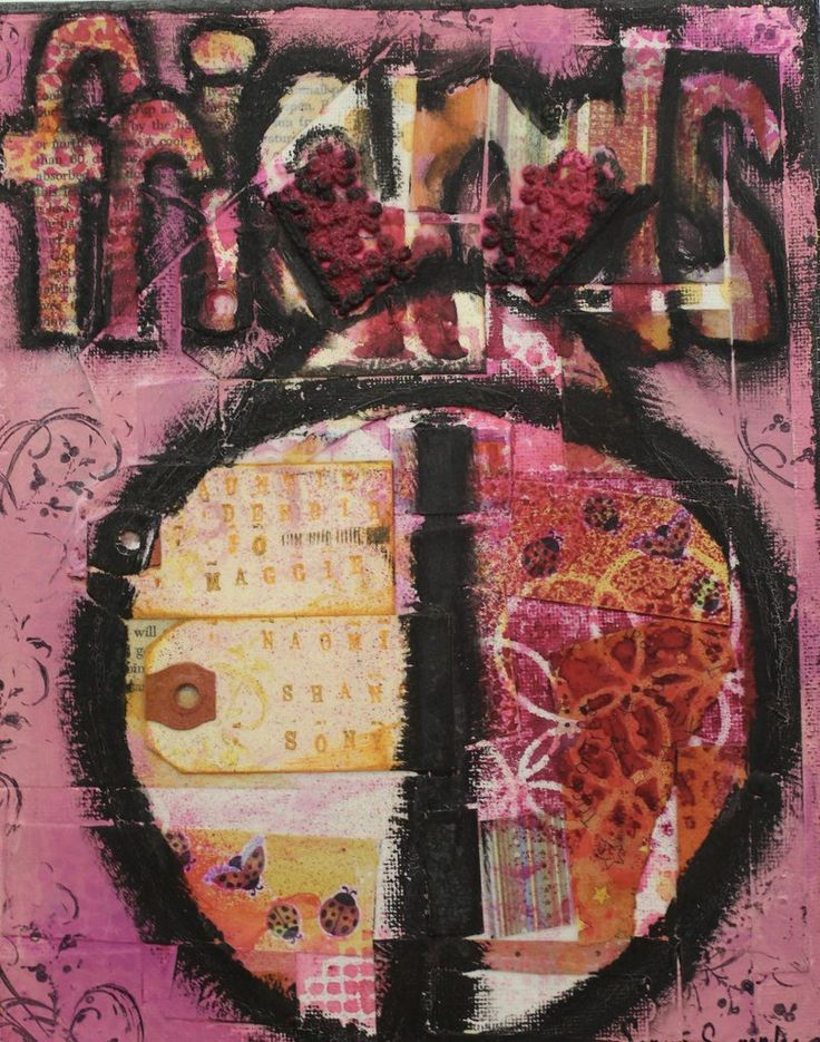 friends, pink, ladybug, mixed media, Bo-ho style, friendship card