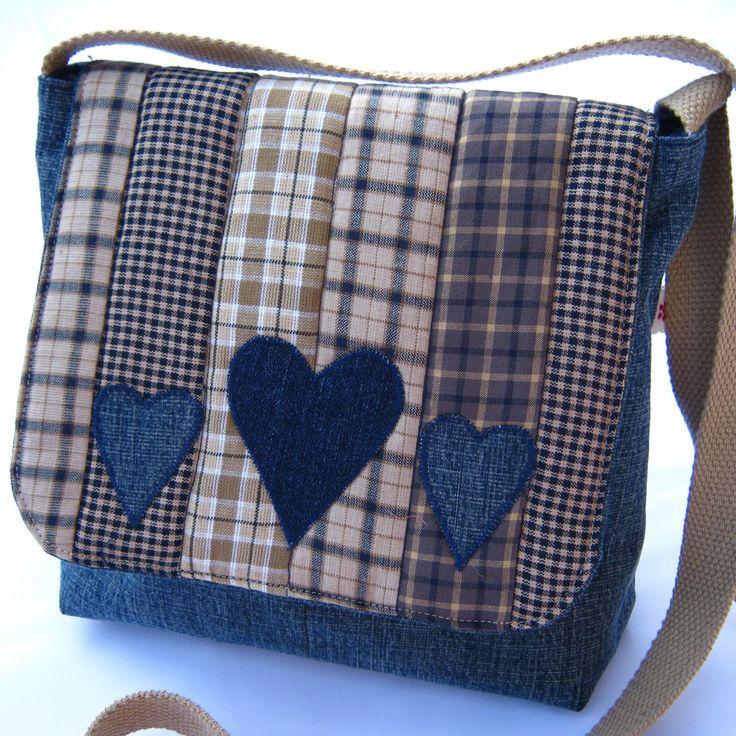 Denim patchwork messenger bag от DaisyPatchUK на Etsy