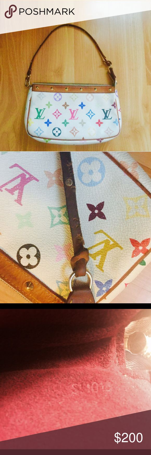 Authentic Louis Vuitton clutch pouch bag purse 100% Authentic Louis Vuitton LV multicolor pouch bag purse handbag. Please look carefully pictures because there is definitely quite a bit of wear/ use one the strap. The bag is good condition. Date code: SL1013 Made in France Louis Vuitton Bags Clutches & Wristlets