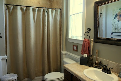 Burlap shower curtains. I've got to make this!!!!!