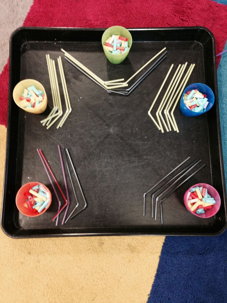 My placement school adopts a funky fingers, fancy feet scheme for fine motor skills. Each morning the children come in and do a fine or gross motor skill activity for the first fifteen minutes. Here are some of my own creations, inspired by this mindset. Threading cut up straws onto thinner straws is a challenge for some children which they have really enjoyed.