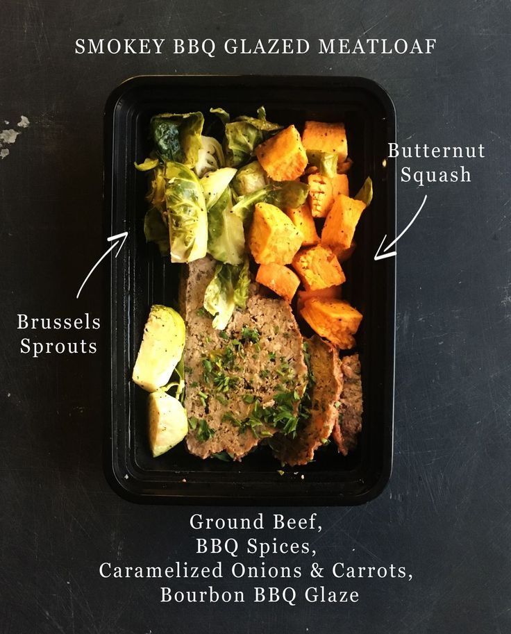 Make this Smokey Bourbon Glazed BBQ Meatloaf with a side of roasted brussels sprouts and sweet potatoes for your next meal prep sesh. NOM!! Bourbon Glazed Meatloaf recipe from @theviewfromgreatisland Ingredients 1 lb ground beef 1 lb ground pork 1 egg beaten 1/2 cup fresh breadcrumbs (you can also use dried) 1/2 yellow onion peeled and minced 1 tsp salt lots of fresh cracked pepper Bourbon glaze 1 cup fruit jam or preserves I like to use apricot or cherry 1/4 cup dark brown sugar (use…