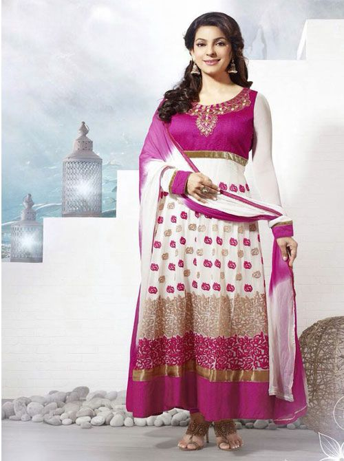 SV-KA0179 at JUST @ $74 Buy at http://www.shopvhop.com/product/white-pink-poll-juhi-chawala-designer-collection-16008/