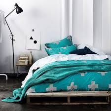 Aura Crosses in Jade quilt cover and throw