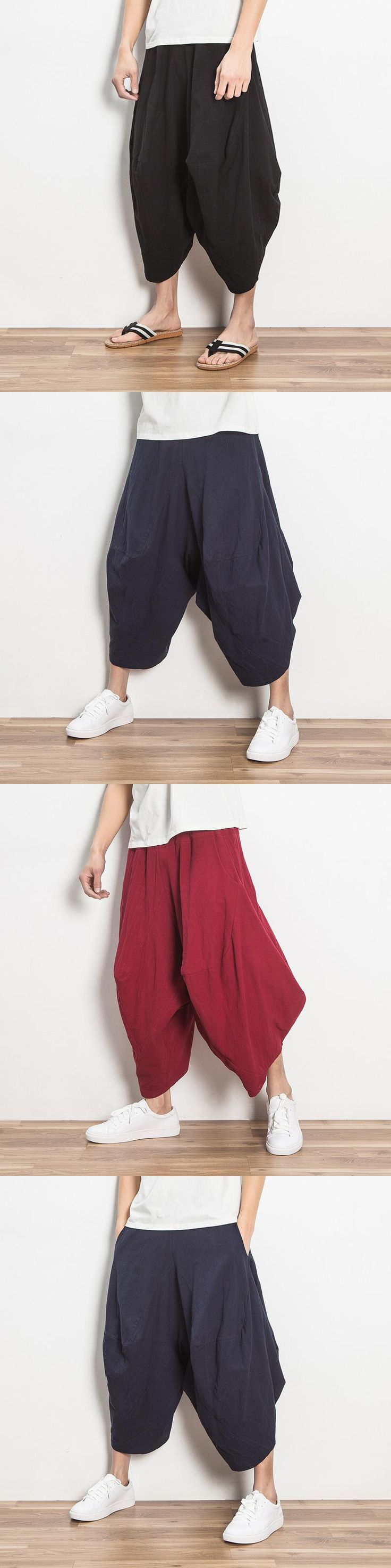 Hippie Baggy Wide Leg Pants Mens Outwear Casual Indian Drop Crotch Pants Summer Nepal Trousers Hawaii Dance Pants 050909