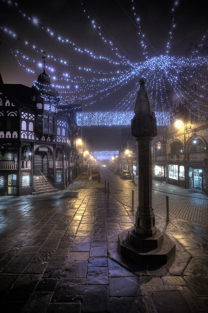The Cross on a foggy night Chester: The Cross stands at the centre of Chester, on the intersection of Eastgate Street/Watergate Street and Northgate Street/Bridge Street. It also stands on the area once occupied by the Roman Principia.