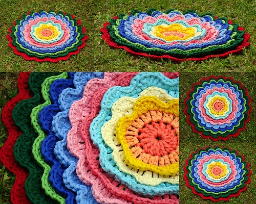 Tapete em Flor: Crochet com Fio de Malha ou Trapilhos (Crochet Rag Rug)
