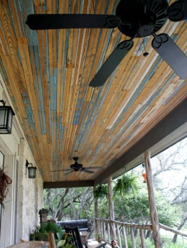 reclaimed barn wood on the porch ceiling - Patio Ceiling Ideas