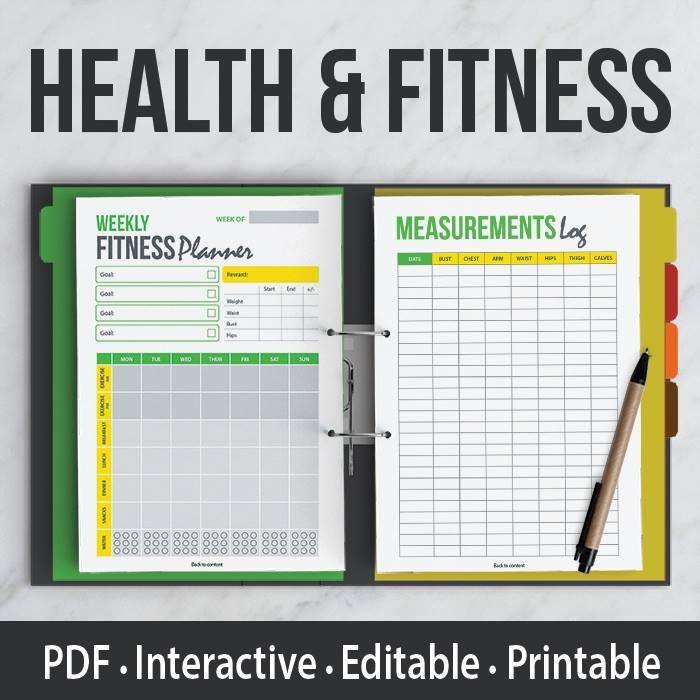 health fitness kit interactive editable pdf printable organizer planner pinterest. Black Bedroom Furniture Sets. Home Design Ideas