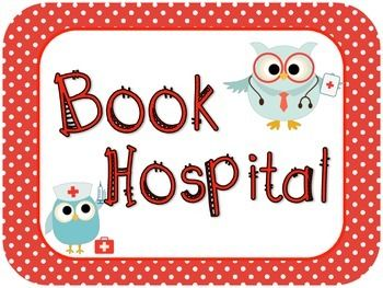 Cute little book hospital. These book hospital labels have an owl theme.I attached these labels to a file tote with a lid. As students come across a broken book, they place it into the book hospital. Once a month a parent volunteer comes in to fix the books.