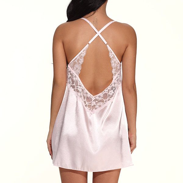 Sexy V Neck Nightwear Criss-cross Back Satin Sleepwear   #women #fashion #sexy #lingerie