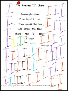 "The ""I"" CHANT is a FREE DOWNLOAD from Handwriting Page at www.nellieedge.com. Scroll down for handwriting videos, handwriting songs and chants, and other best handwriting practices.From ""Kindergarten-Friendly Handwriting, Phonics, and Word Work"" program by Nellie Edge. http://nellieedge.com/online-store/"