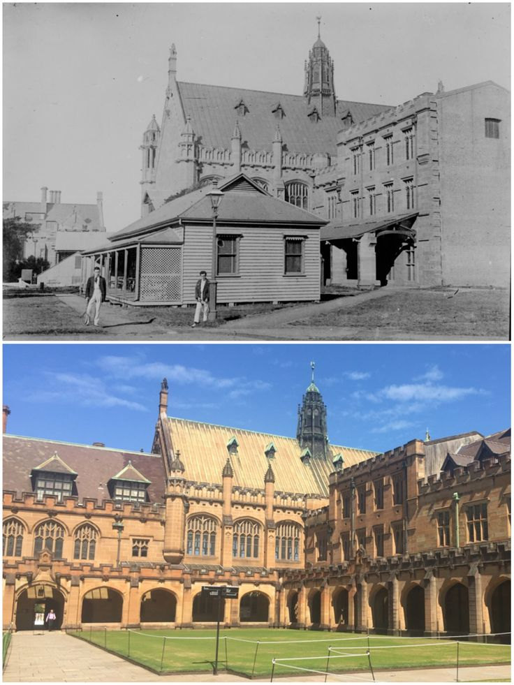 Tennis players standing near the tennis clubhouse that once stood near Sydney University's original library, c1920 > Main Quadrangle with Maclaurin Hall, Sydney University 2016. [University of Sydney Archives > Curt Flood. By Curt Flood @redkellybeard]