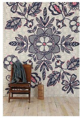 indigo blue & pinkish floral wall mural