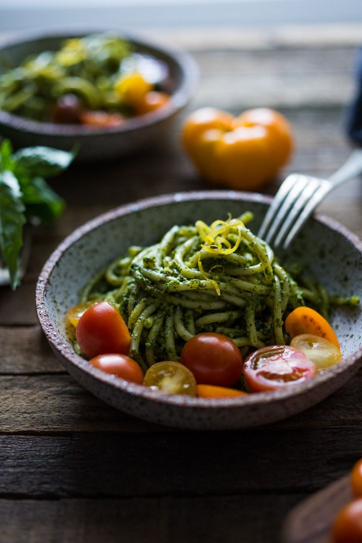Bucatini Pasta With Arugula Almond Pesto And Mini Heirloom Tomatoes Vegan VERY Flavorful