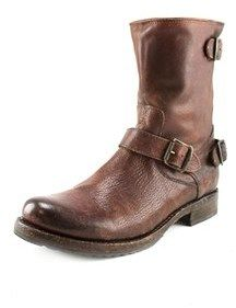 Frye Veronica Back Zip Short Round Toe Leather Mid Calf Boot.