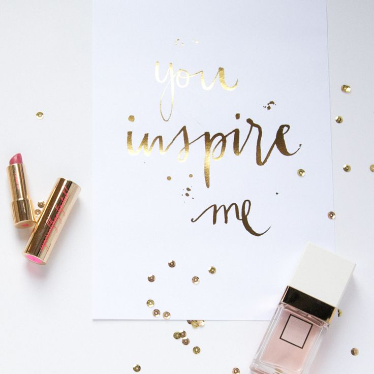 Gold foil calligraphy print by Gemma Milly