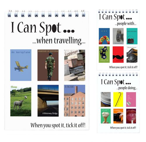 "I Can Spot... Travel Pack - Flip Books  Perfect for time spent in airports or on trains, looking out of windows, people watching, ticking things off as you see them. A great way to keep kids entertained. They get to play detective rather than wondering why you have decided to inflict this boredom on them. At the very least it should cut down on the number of times you hear ""Are we nearly there yet?""."