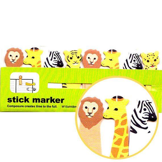 A forma di leone Zebra giraffa Tiger Safari Memo Post-it Index appiccicoso schede | Articoli di carta a tema animale carino
