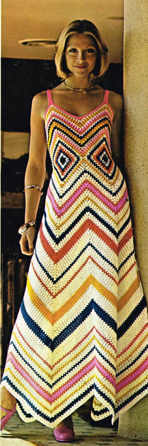 VCP315 ladies maxi dress  crochet summer wear  for ladies vintage pattern PDF instant download on Etsy, $2.08