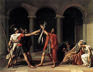 Oath of the Horatii (French: Le Serment des Horaces), is a large painting by the French artist Jacques-Louis David painted in 1784 and now in the Louvre in Paris. The painting immediately became a huge success with critics and the public, and remains the best known painting of Neoclassicism.