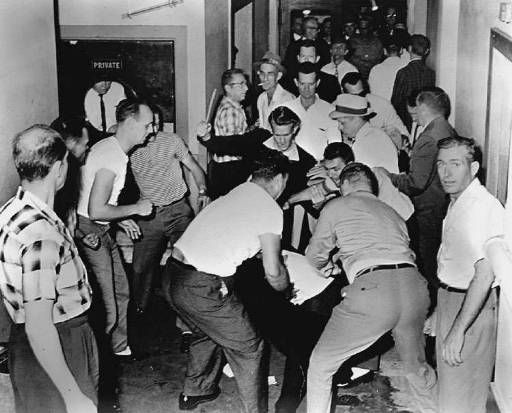 """1961 a group of freedom riders arrived in Birmingham, Alabama on greyhound buses.  Upon their arrival they were met by members of the KKK who proceded to viciously beat them.  When Bull Conner, the police commisoner at the time, was asked why police were not sent to stop the violence he replied, """"It was mothers day.""""  It was later discovered that the police had prior knowledge of the attack and made a deal with the KKK not to stop them."""