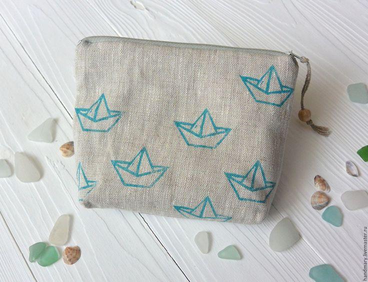 Купить Косметичка с корабликами - голубой, косметичка, косметичка ручной работы, кораблик, кораблики, море, набойка