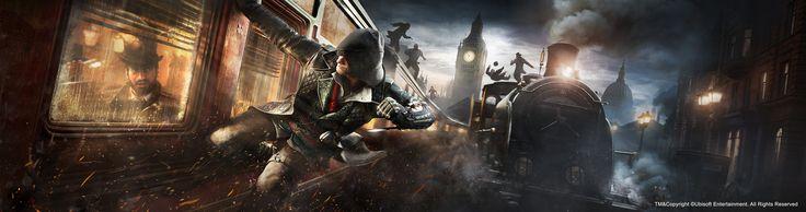Assassin's Creed Syndicate - Train (E3 banner), Anthony Guebels on ArtStation at https://www.artstation.com/artwork/Nrk41