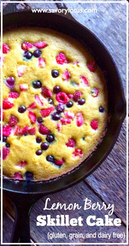 Lemon Berry Skillet Cake (gluten, grain, and dairy free) - savorylotus.com #dessert #recipes #glutenfree #grainfree #paleo #cake