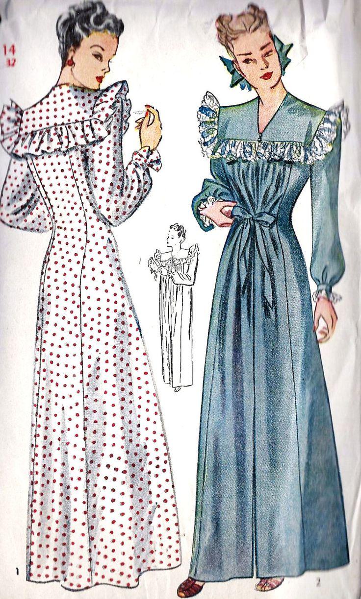 Misses Negligee Princess Seams Vintage Sewing Pattern