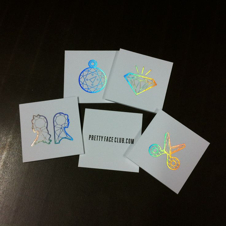 more of the crazy awesome holographic foil we printed for pretty face club.