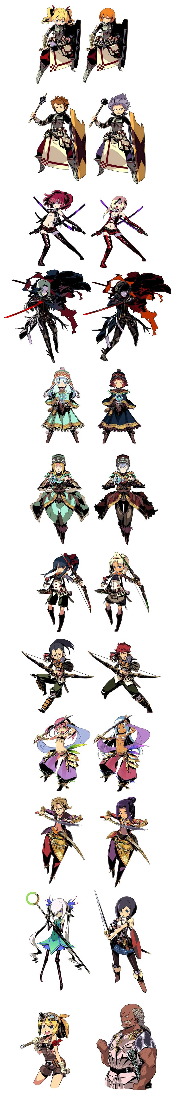 Etrian Odyssey IV portraits. These are all the clean pictures I could find...  they are good for reference in drawing your own characters :)