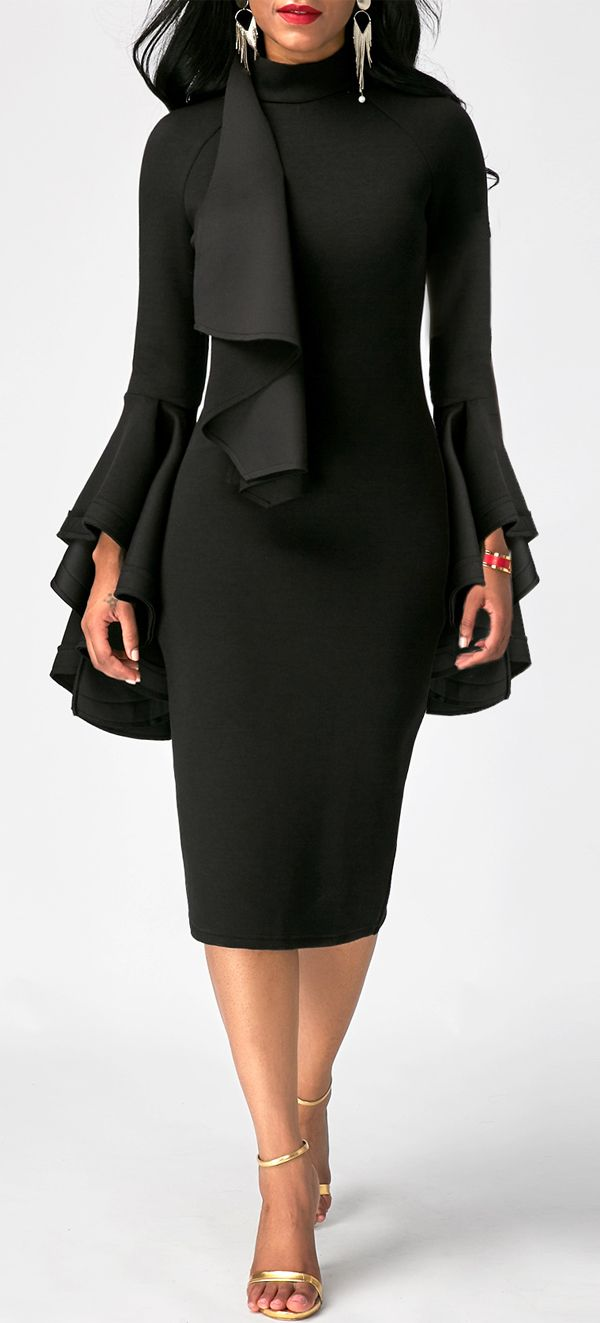Black Flare Sleeve High Neck Skinny Dress. women's fashion and style