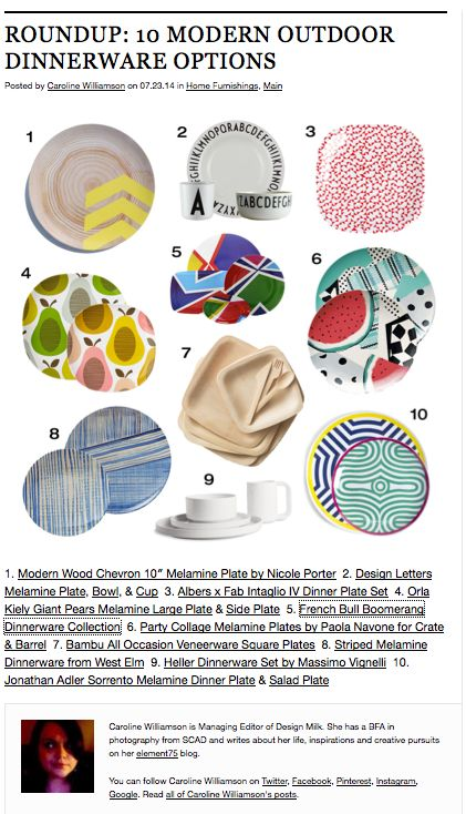 French Bull's legacy pattern BOOMERANG in Design Milks Roundup: 10 Modern Outdoor Dinnerware Options.