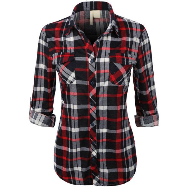 Womens Lightweight Plaid Button Down Shirt with Roll Up Sleeves (€16) ❤ liked on Polyvore