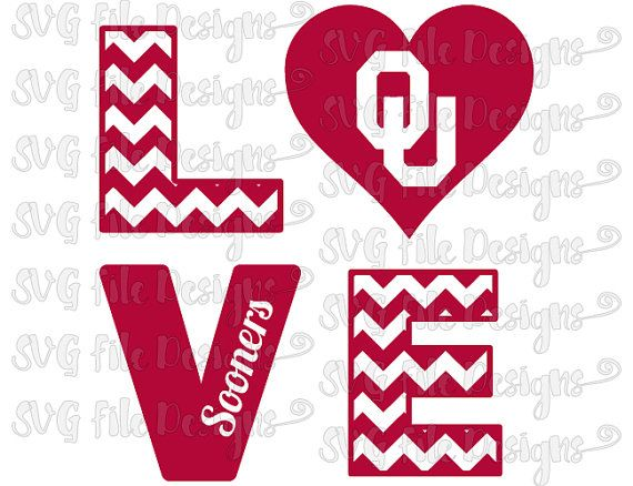 Chevron Love University of Oklahoma Sooners by SVGFileDesigns